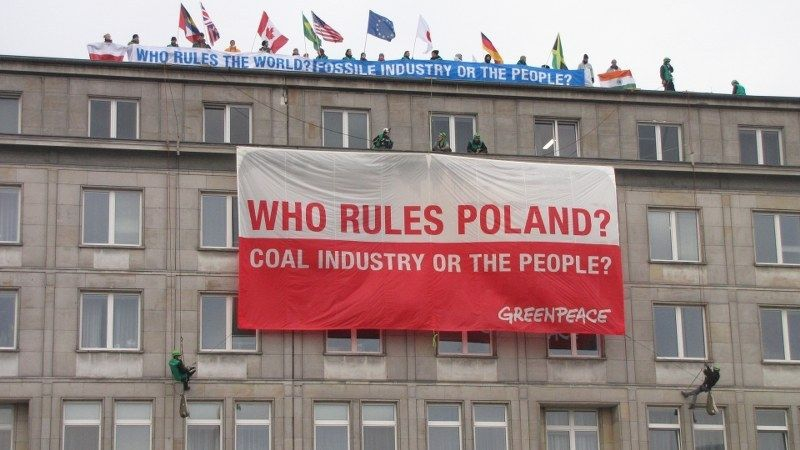 Greenpeace protest in Warsaw