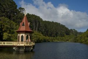 View - lower reservoir valve tower at Zealandia © Shaun Matthews