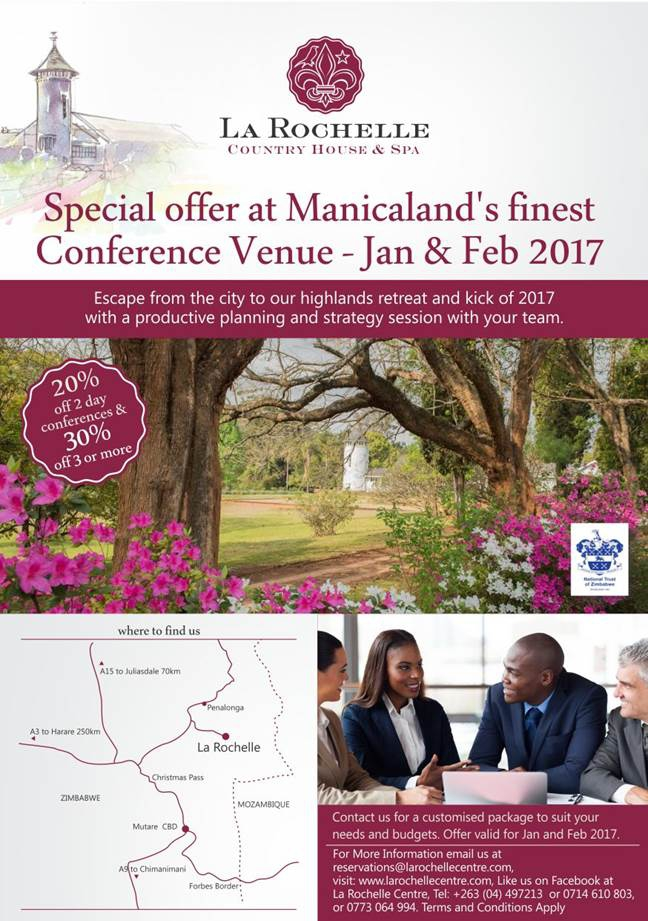 Kick-start 2017 - Special Offer At Manicaland's Finest Conference Venue.