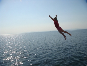 Jumping off Houseboat in Kariba